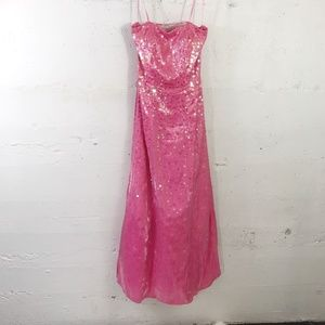 Sean Collection Pink Star Sequin A Line Lace Up